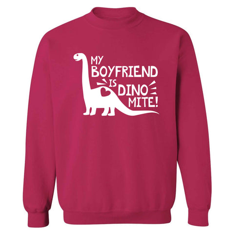 My boyfriend is dinomite! Adult's unisex pink Sweater 2XL