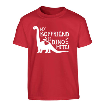 My boyfriend is dinomite! Children's red Tshirt 12-13 Years