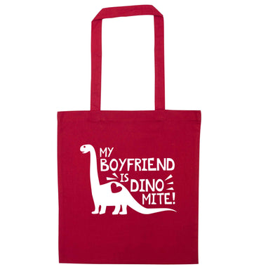 My boyfriend is dinomite! red tote bag