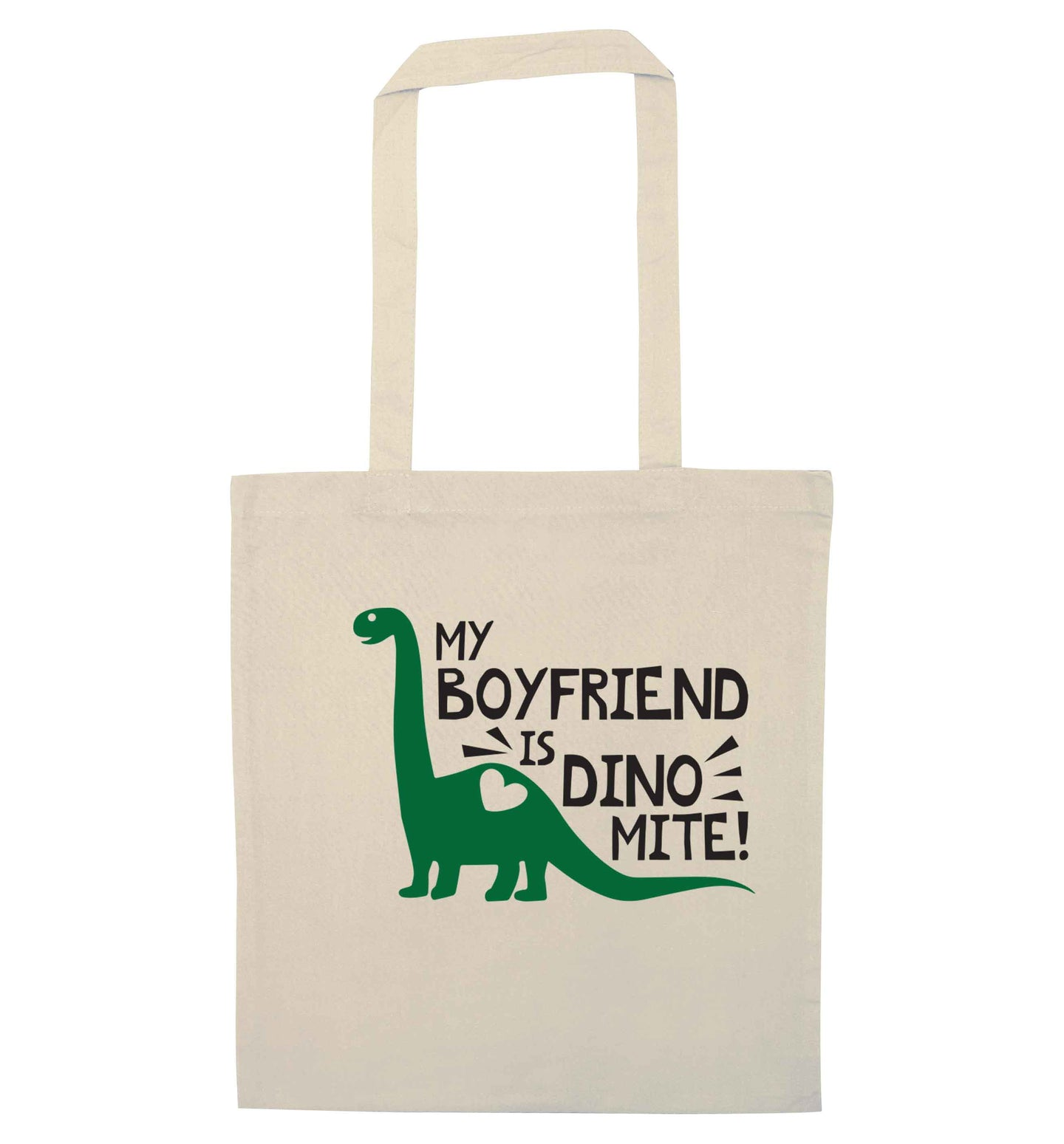 My boyfriend is dinomite! natural tote bag