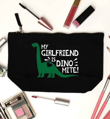 My girlfriend is dinomite! black makeup bag