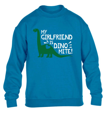 My girlfriend is dinomite! children's blue sweater 12-13 Years