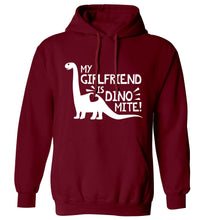My girlfriend is dinomite! adults unisex maroon hoodie 2XL