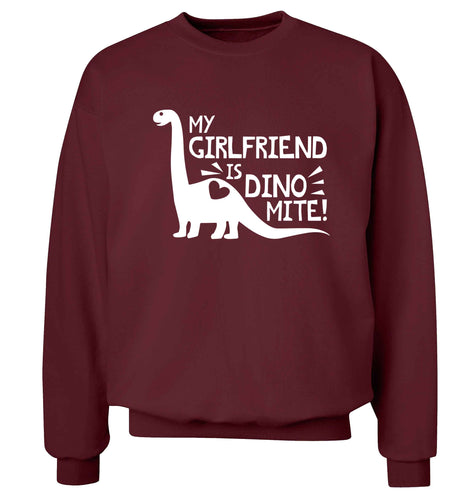 My girlfriend is dinomite! Adult's unisex maroon Sweater 2XL