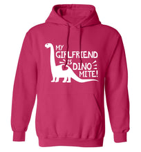 My girlfriend is dinomite! adults unisex pink hoodie 2XL