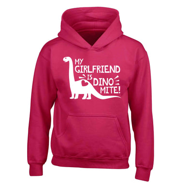 My girlfriend is dinomite! children's pink hoodie 12-13 Years