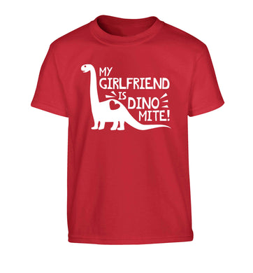 My girlfriend is dinomite! Children's red Tshirt 12-13 Years