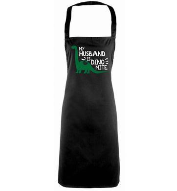 My husband is dinomite! black apron