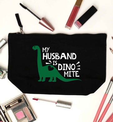 My husband is dinomite! black makeup bag
