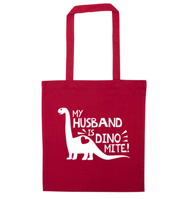 My husband is dinomite! red tote bag
