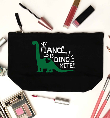 My fiance is dinomite! black makeup bag