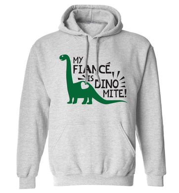 My fiance is dinomite! adults unisex grey hoodie 2XL