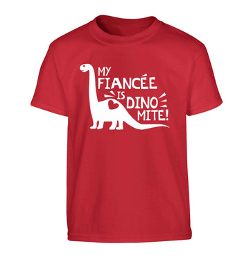 My fiancee is dinomite! Children's red Tshirt 12-13 Years