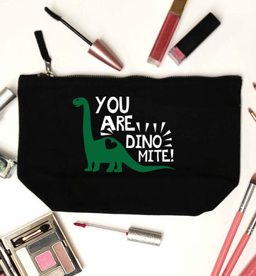 You are dinomite! black makeup bag