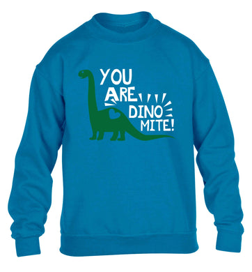 You are dinomite! children's blue sweater 12-13 Years