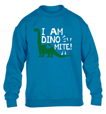 I am dinomite! children's blue sweater 12-13 Years