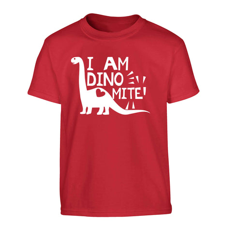 I am dinomite! Children's red Tshirt 12-13 Years