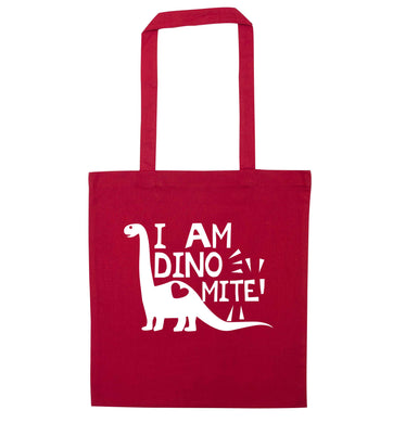 I am dinomite! red tote bag