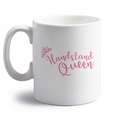 Handstand Queen right handed white ceramic mug