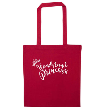 Handstand princess red tote bag