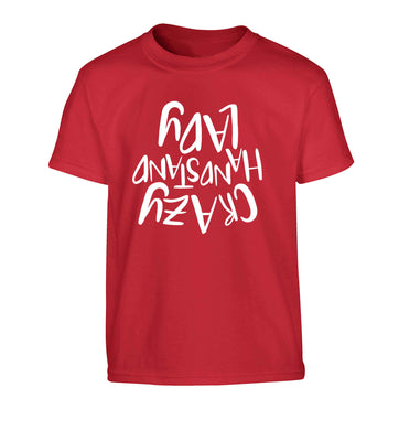 Crazy handstand lady Children's red Tshirt 12-13 Years