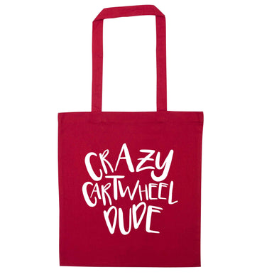 Crazy cartwheel dude red tote bag
