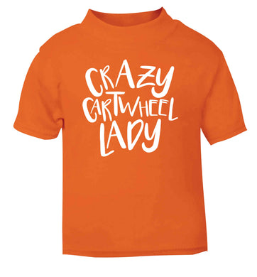 Crazy cartwheel lady orange Baby Toddler Tshirt 2 Years