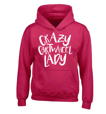 Crazy cartwheel lady children's pink hoodie 12-13 Years
