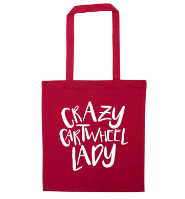 Crazy cartwheel lady red tote bag