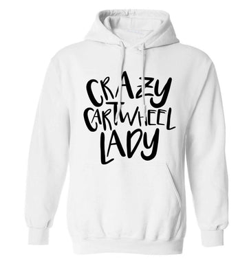 Crazy cartwheel lady adults unisex white hoodie 2XL