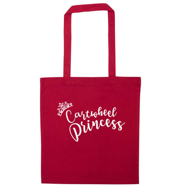 Cartwheel princess red tote bag