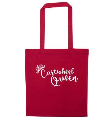 Cartwheel queen red tote bag