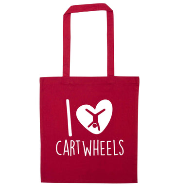 I love cartwheels red tote bag