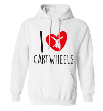 I love cartwheels adults unisex white hoodie 2XL