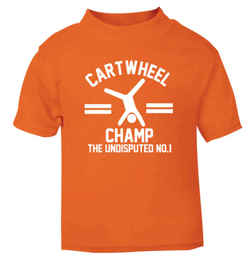 Undisputed cartwheel championship no.1  orange Baby Toddler Tshirt 2 Years