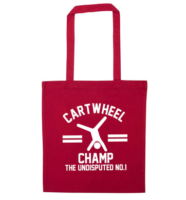Undisputed cartwheel championship no.1  red tote bag