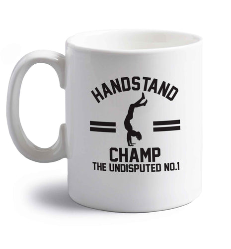 Undisputed handstand championship no.1  right handed white ceramic mug