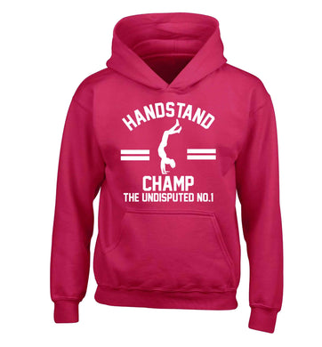 Undisputed handstand championship no.1  children's pink hoodie 12-13 Years