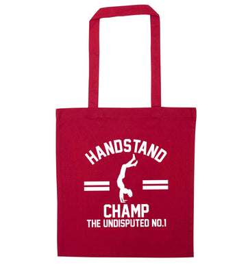 Undisputed handstand championship no.1  red tote bag