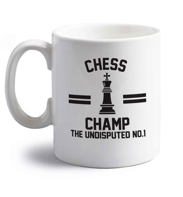 Undisputed chess championship no.1  right handed white ceramic mug