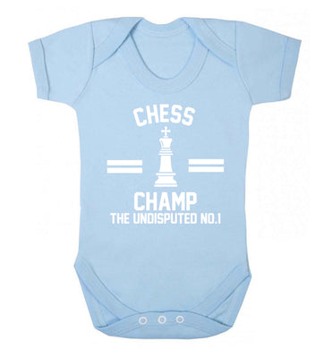 Undisputed chess championship no.1  Baby Vest pale blue 18-24 months