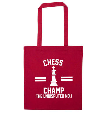 Undisputed chess championship no.1  red tote bag
