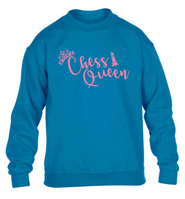 Pink chess queen  children's blue sweater 12-13 Years