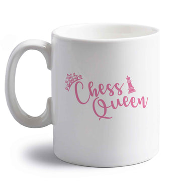 Pink chess queen  right handed white ceramic mug
