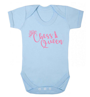 Pink chess queen  Baby Vest pale blue 18-24 months