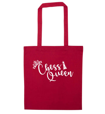 Pink chess queen  red tote bag
