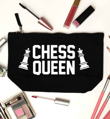 Chess queen black makeup bag