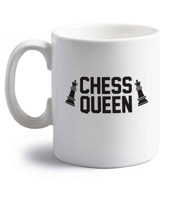 Chess queen right handed white ceramic mug