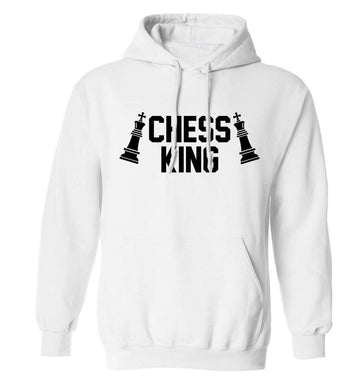 Chess king adults unisex white hoodie 2XL