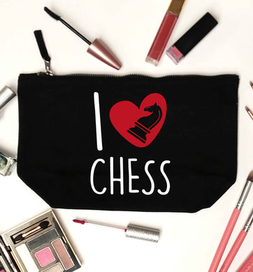 I love chess black makeup bag